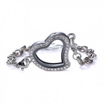Bling Stars Glass Heart Shape Rhinestone Floating Charm Living Memory Lockets Bracelet Set - Silver - CJ12EG7T253