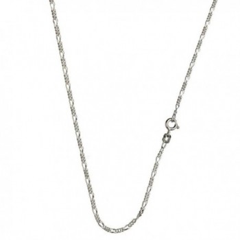 Sterling Silver Diamond-Cut Figaro Nickel Free Chain Necklace Italy - C51158YDSOP