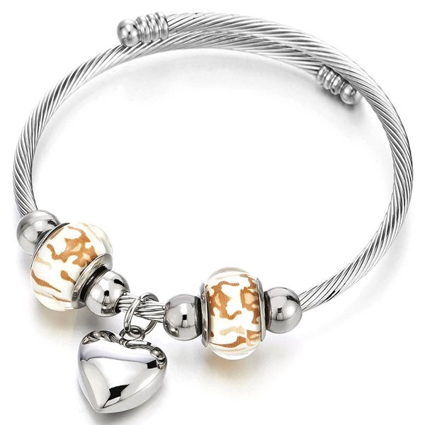 Heart and Murano Glass Charms Cuff Bracelet- Elastic Adjustable Stainless Steel Twisted Cable Bangle - CE17YDT8542