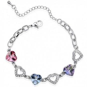 Colorful Heart Swarovski Elements Heart Shaped Crystal Rhodium Plated Bracelet - Purple- Pink- Blue - CG118WGG2BH