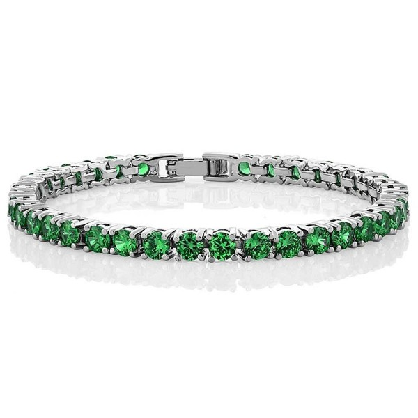 10.00 Ct Round Green Color Cubic Zirconia CZ Tennis Bracelet 7 Inch - CY11MY0EF6V