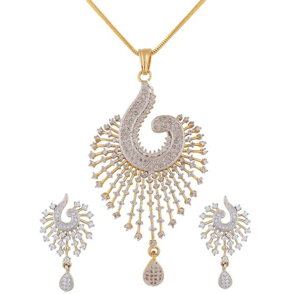 Ananth Jewels Zircon Peacock Shaped Fashion Jewelry Set Pendant Earrings for Women - C6125KO0ULV