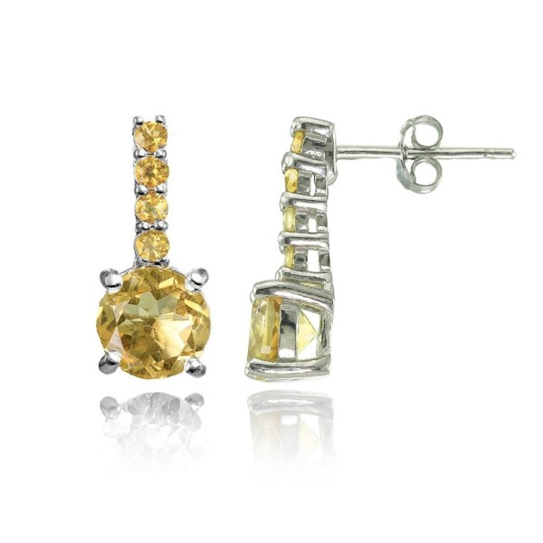Sterling Silver Citrine 5-Stone Round Drop Earrings - CT1846LS3M6
