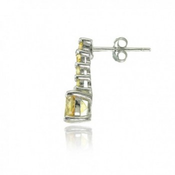 Sterling Silver Citrine 5 Stone Earrings