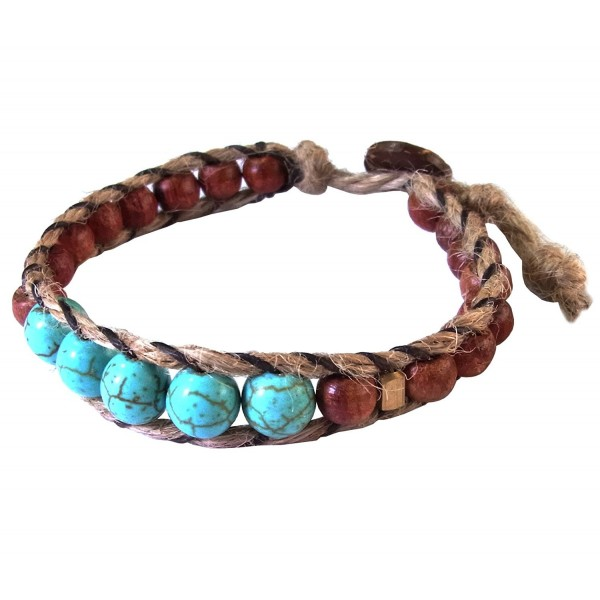 Thai Asian Fashion Handmade Bracelet Hemp String Brass Wood Beads Turquoise Brown Gold Wristband - CU182ATXZ2E