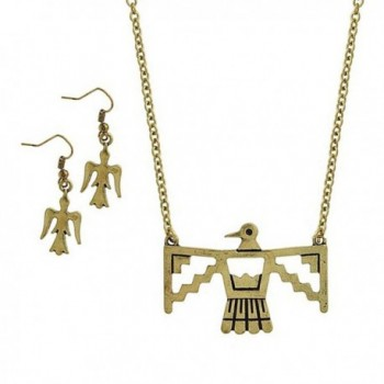 Antiqued Gold Phoenix Necklace and Earring Set - CL11UDXHOIH