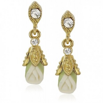 Downton Abbey Carded Gold-Tone Closed White Porcelain Rose Drop Earrings - C9124IYUFA9