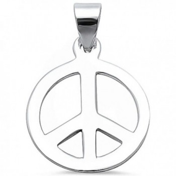 Peace Sign .925 Sterling Silver Pendant 347267 - CZ12BWJS0Y7