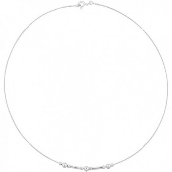 Sterling Silver Cable Wire Necklace Bead and Bar Accents- 3/16 inch wide - CR11P5L9007