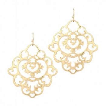 Lovely Gold Toned Floral Metal Filigree Hook Earrings - CK12KUYQMQD