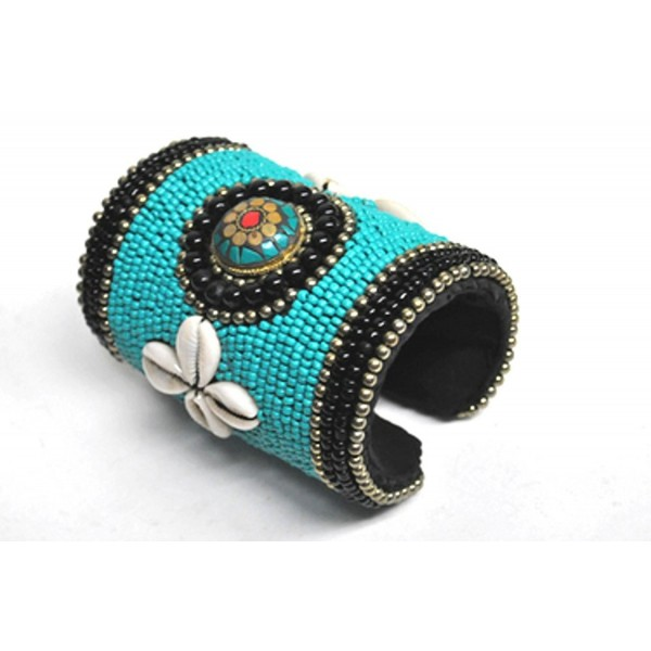 Long Tribal Cuff Bracelet Blue Seed Beads Ethnic Indian Native American Style - CJ182DGMQ4O