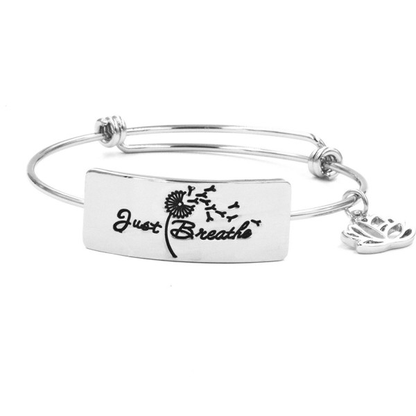 Expandable Bracelet Just Breathe Bangle Jewelry for Yoga Girl Women Jewellery Gifts - Silver - CC189IMD29R