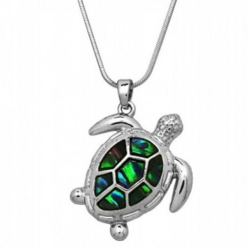 "DianaL Boutique Beautiful Design Silver Tone Abalone Sea Turtle Charm Pendant Necklace 17"" Chain - C018686QWW0"