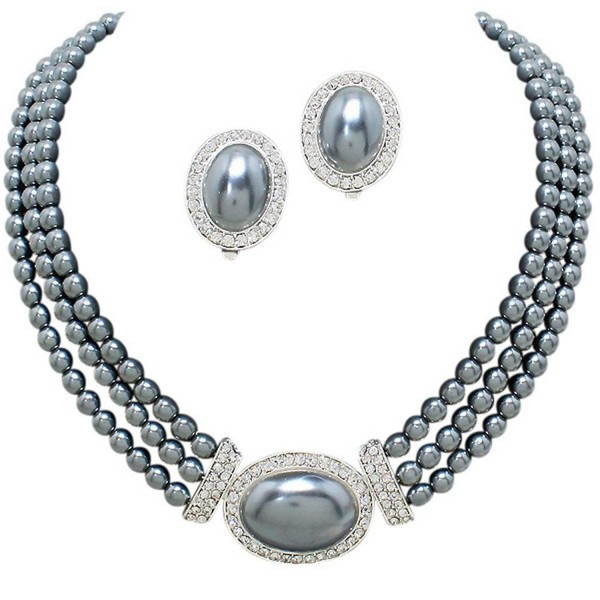 Elegant 3 Strand Steel Gray Pearl Tone Drop Bridal Necklace CLIP ON Earring Set W3 - C812IETPRKD