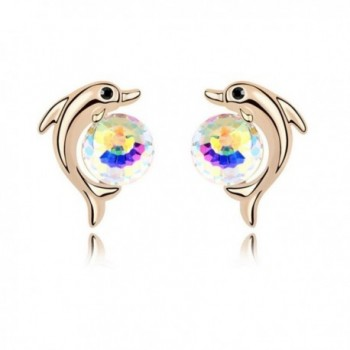 IBTS1 Pair Cute Animal Dolphin Shape Rose Gold Plated Stud Earrings - Colorful - C212JNSW7F7