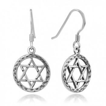 """925 Oxidized Sterling Silver Open Hexagram Geometric Star Symbol Round Dangle Hook Earrings 1.14"""" - CX12LPM82DP"""