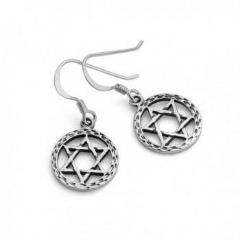 Oxidized Sterling Hexagram Geometric Earrings
