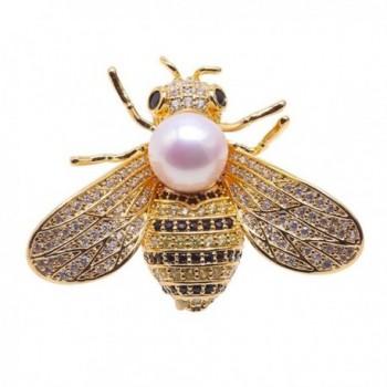 JYX 9mm White Perfect Round Freshwater Pearl Brooch Pin Bee-stye - CR12N4OCMAS