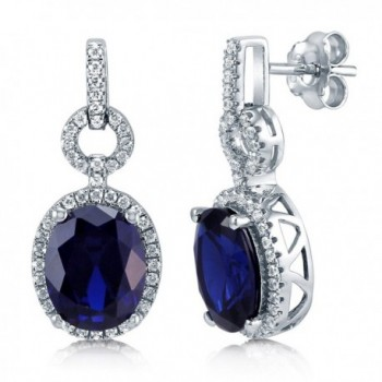 BERRICLE Rhodium Plated Sterling Silver Oval Cut Cubic Zirconia CZ Halo Dangle Earrings - CK119031YBT