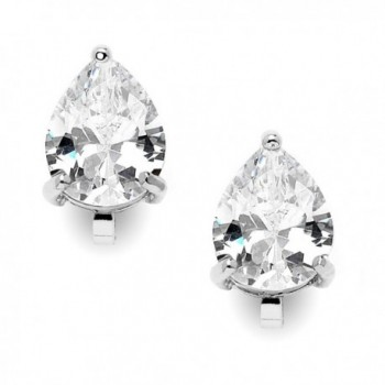 Mariell 2 Carat Clip-On Earrings with Pear-Shaped Cubic Zirconia Stud Solitaires - Silver Platinum Plated - C8127WBIXQ9