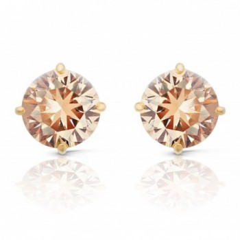 JanKuo Jewelry Gold Tone Champagne Color Cubic Zirconia Round Stud Earrings - CZ11588VPZ5