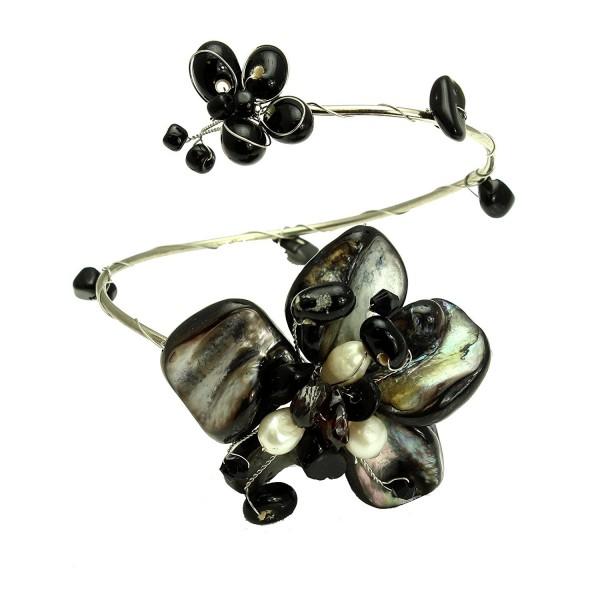 Colored Sea Shell Flower Wrap Cuff Bracelet- Handmade Fair Trade - Black - CF11TYCR9J7