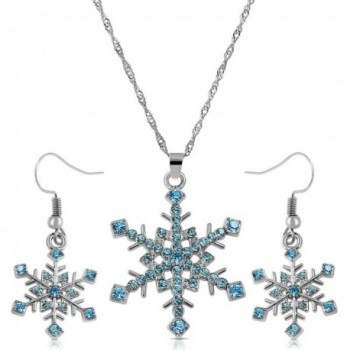 Crystal Snowflake Necklace Earrings Jewelry - Aqua Blue - CM128SM05Q7