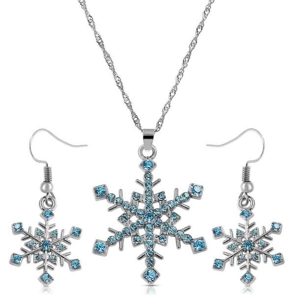 Crystal Snowflake Necklace Earrings Jewelry - Aqua Blue - CM128SM05Q7