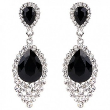 BriLove Teardrop Chandelier Earrings Silver Tone - Black Silver-Tone - CB12JBZ5OLV