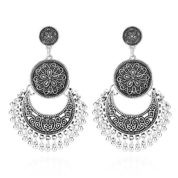 BaubleStar Vintage Antique Silver Dangle Earrings Beaded Tassel Earring for Women Girls - Antique Silver - CW188ZA5USX