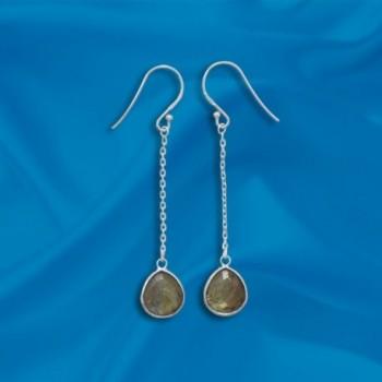 Labradorite Chain Sterling Silver Earrings