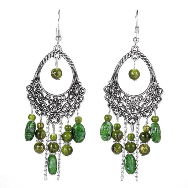Women's Vintage Fashion Bohemian Long Drop Dangle Earrings - Style 4-Green - CX1887O7NDW