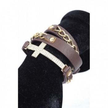 Rhinestone Cross Charm Chain Faux Leather Wrap Bracelet - Brown/Gold-Tone - CG11FPBL47J