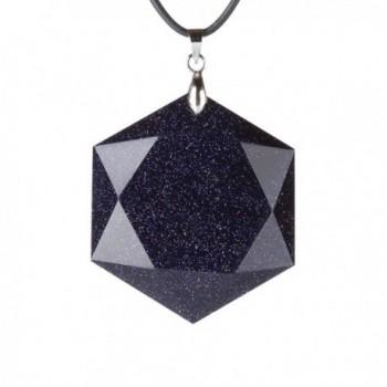 MATT HANN Blue Sandstone Mogen David Pendant Necklace Amulet Grounding Stone - C2126AKKZQN