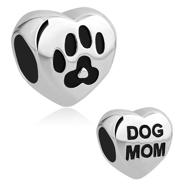 LovelyJewelry Dog Mom Charm Pet Paw Print Beads For Bracelet - CN12MYMSGE5