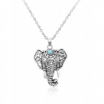 Cyntan Vintage Elephant Pendent Necklace Animal Ring Jewelry For Women Silver Tone - Necklace - C01868S834Q
