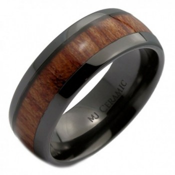 MJ Black Ceramic 6mm or 8mm Wedding Band- Inlay Made from Real Koa Wood - CA12NAFBZRR