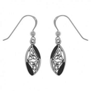 Jewelry Trends Sterling Silver Celtic Trinity Knot Dangle Earrings with Black Onyx - C711XLWA1NL