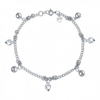 Bling Jewelry Heart Jingle Bell Charms 925 Silver Anklet 9.5 Inches - CL118HC6301