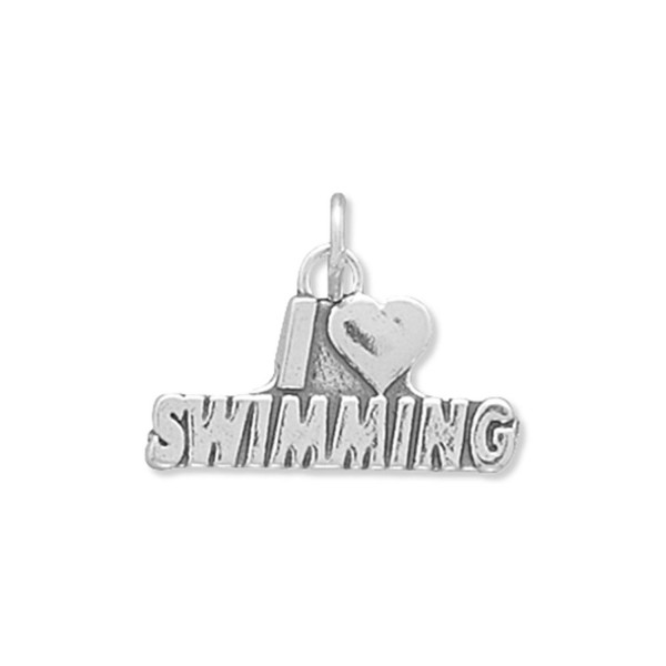 I Love Swimming Charm Sterling Silver - Made in the USA - CE113HQK1QJ