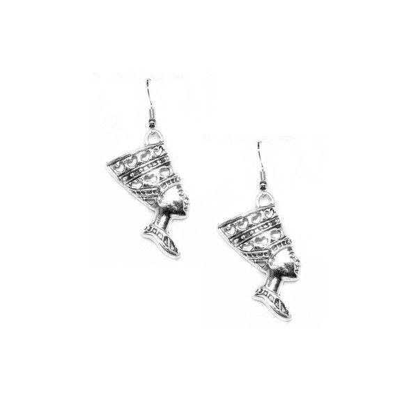Antiqued Silver Nefertiti Egyptian Drop Earrings - C712E8UCZMF