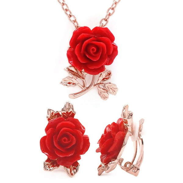 Red Flower Jewelry Set Rose Gold Plated Pendant Necklace Matching Clip on Earrings - C012N9MIB6S