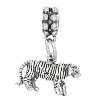 Sterling Silver Oxidized Tiger Dangle Bead Charm - CU115UHJNVH