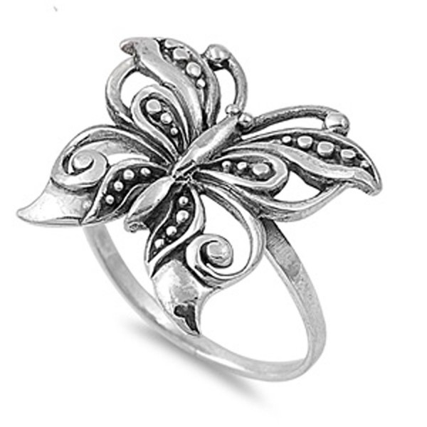 Antiqued Filigree Butterfly Boho Ring New .925 Sterling Silver Band Sizes 5-10 - CT187Z6MZCW