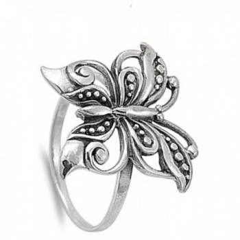 Antiqued Filigree Butterfly Sterling Silver