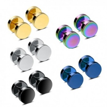 Bowisheet 3-5 Pairs Ear Tunnel 316L Stainless Steel Stud Earrings Womens Piercing Jewelry - 5 Pairs Set - CR186SSRCXR