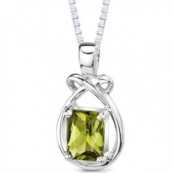 1.50 Carats Genuine Emerald Cut Peridot Sterling Silver Pendant Necklace - C0111NRMHQL