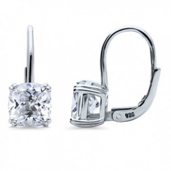BERRICLE Rhodium Plated Sterling Silver Cubic Zirconia CZ Solitaire Leverback Dangle Earrings - C9182S8CKIZ
