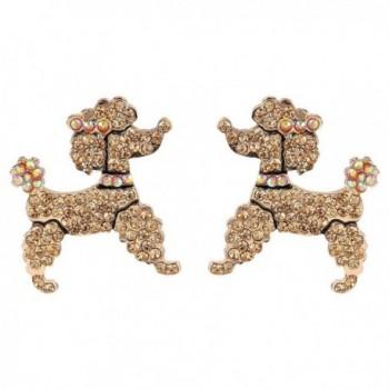 EVER FAITH Dog Austrian Crystal Toy Poodle Stud Earrings Topaz Color - CQ11BGDM9PV