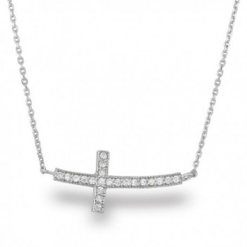 "Spoil Cupid Rhodium-Plated Sterling Silver Cubic Zirconia Curved Sideways Cross Chain Necklace-18"" - C911AS8ZK7D"